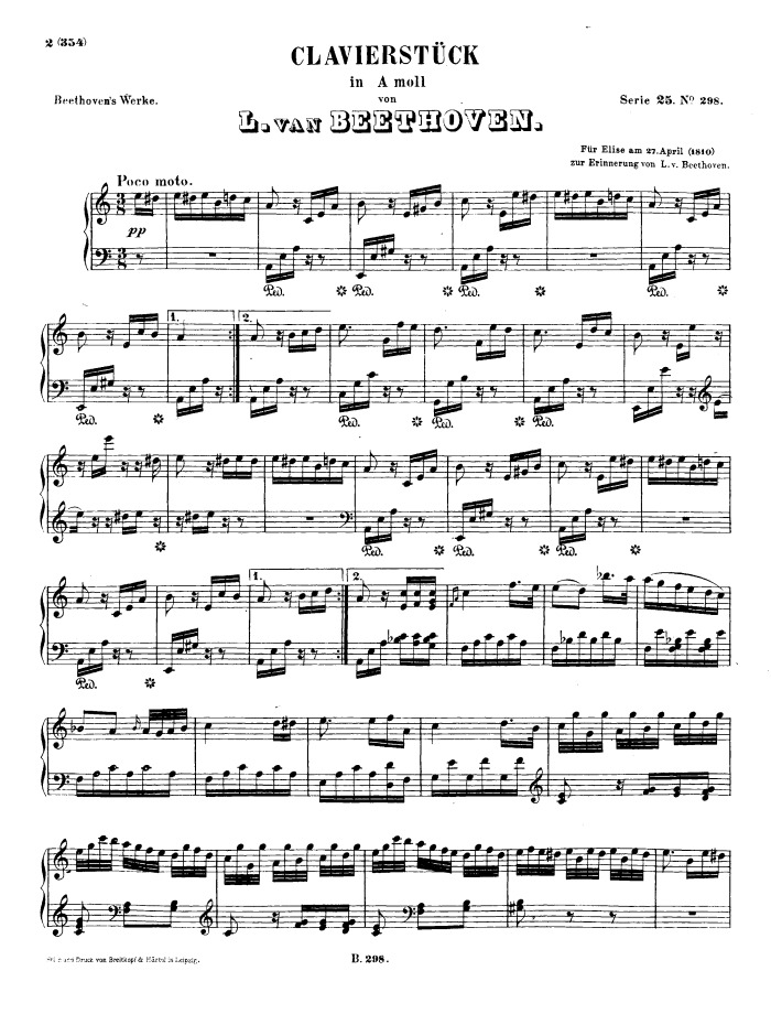 Fur Elise free sheet music by Beethoven   Pianoshelf