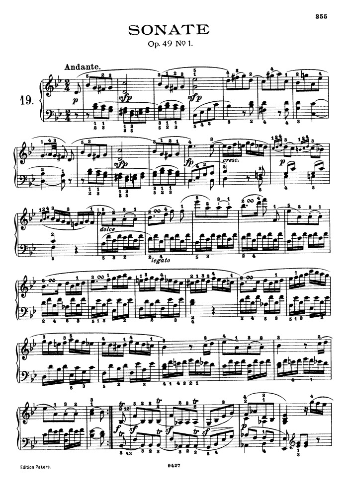 All Music Chords beethoven sheet music : op.49 no.1 free sheet music by Beethoven | Pianoshelf
