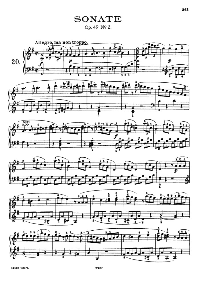 All Music Chords beethoven sheet music : op.49 no.2 free sheet music by Beethoven | Pianoshelf