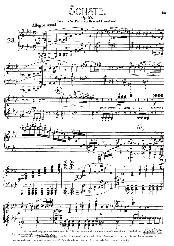 All Music Chords beethoven sheet music : op.57 no.23 Appassionata free sheet music by Beethoven | Pianoshelf