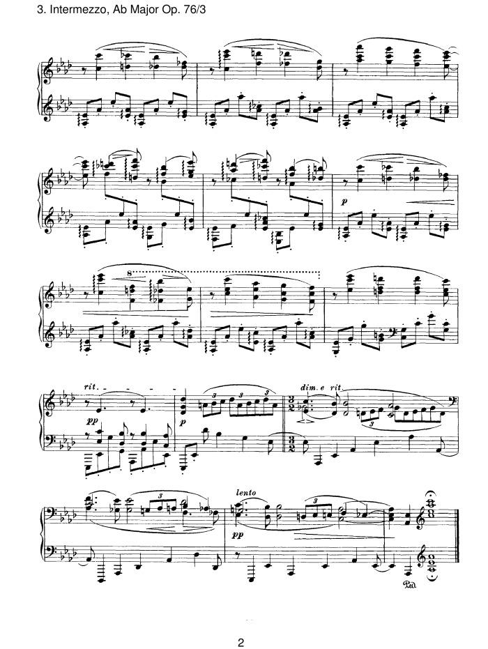 Klavierstucke, No. 3: Intermezzo in A-flat Major