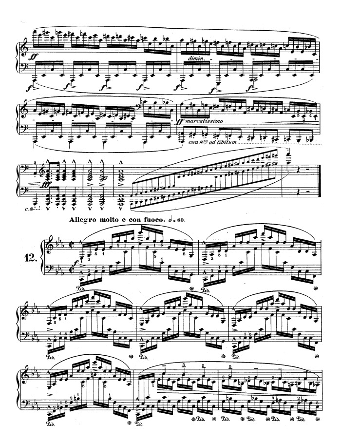 op 25 no 12 ocean free sheet music by Chopin | Pianoshelf