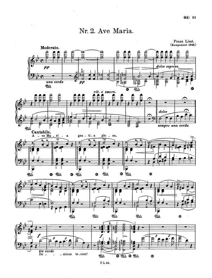 Piano ave maria sheet music piano : S.173 No.2 Ave Maria free sheet music by Liszt | Pianoshelf