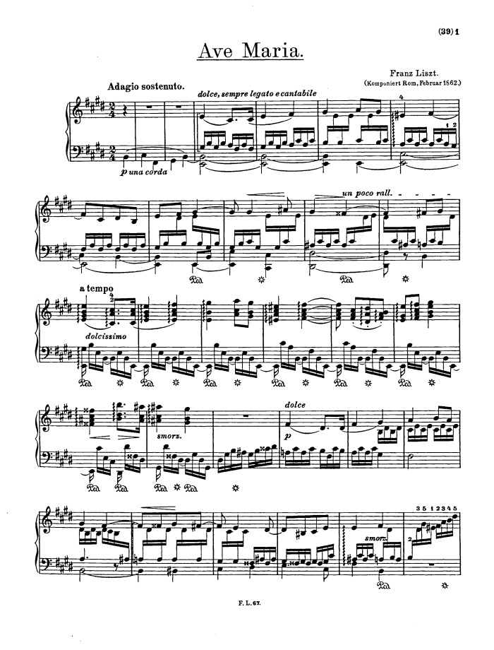 Piano ave maria sheet music piano : S.182, Ave Maria - Die Glocken von Rom free sheet music by Liszt ...