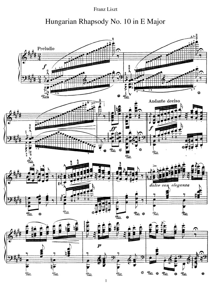 Hungarian Rhapsody No.10 (Preludio) free sheet music by Liszt ...