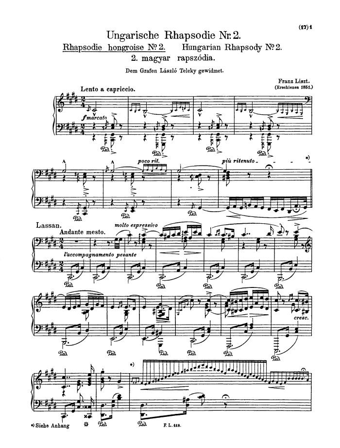 Hungarian Rhapsody No 2 Lento A Capriccio Free Sheet Music By Liszt Pianoshelf
