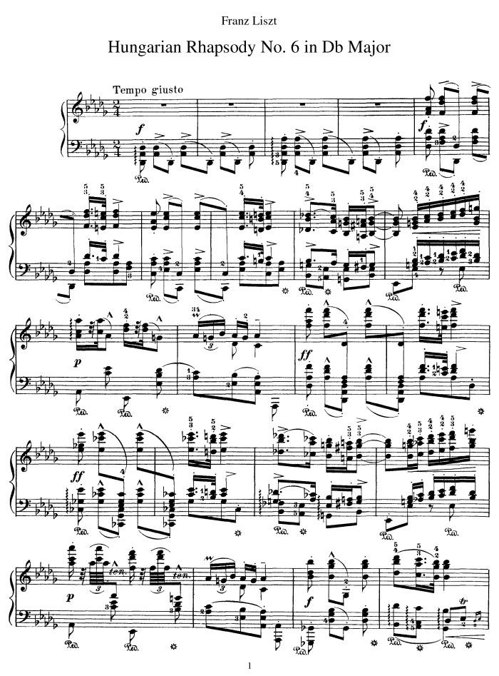 Hungarian Rhapsody No 6 Tempo Giusto Free Sheet Music By Liszt Pianoshelf