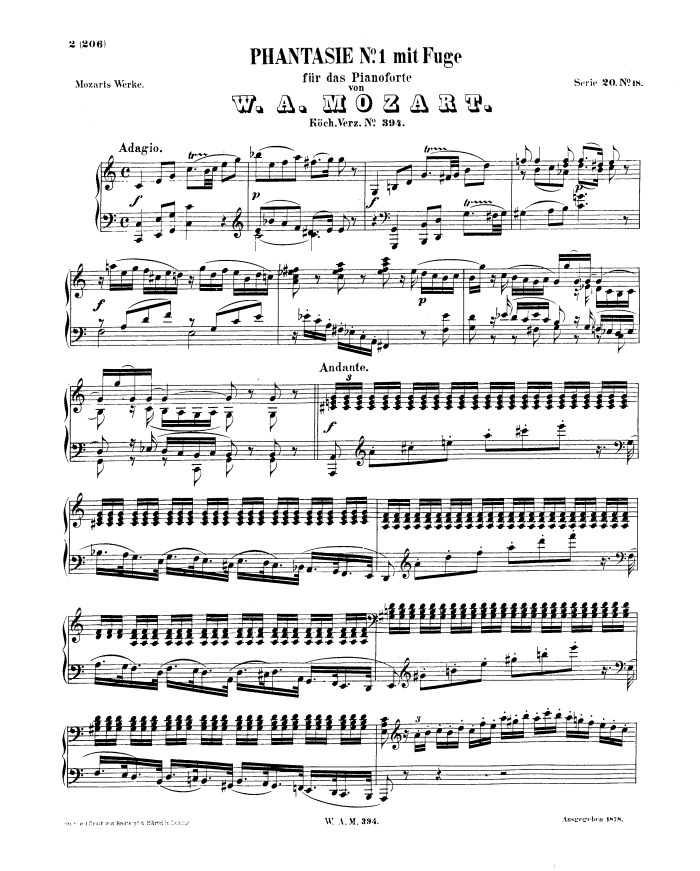 mozart music sheet