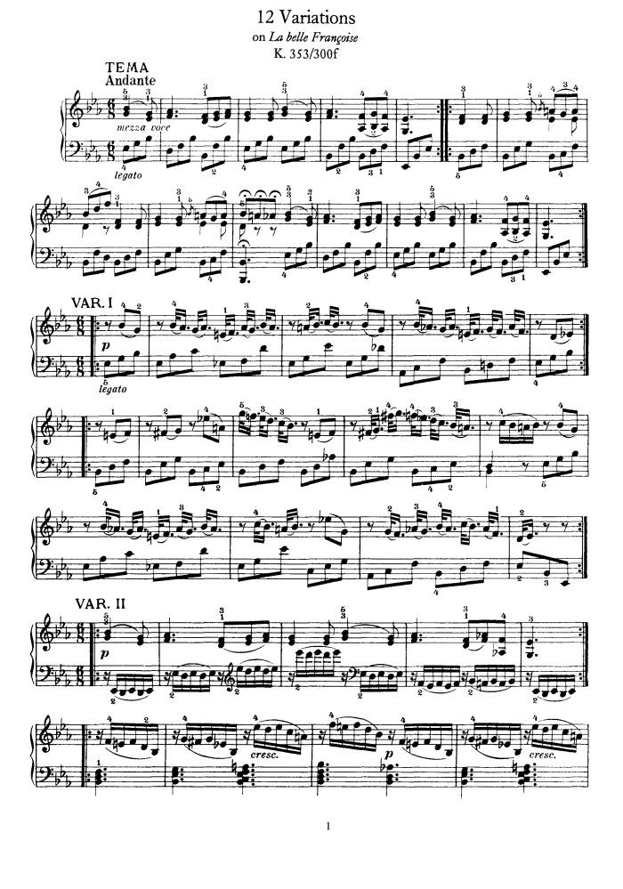 2 Variations La belle Françoise, K. 353 free sheet music by Mozart ...