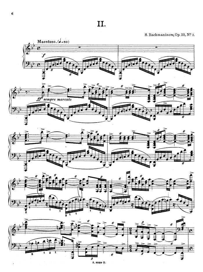 All Music Chords rachmaninoff sheet music : Op.23 No.2, Prelude in B-flat major free sheet music by ...