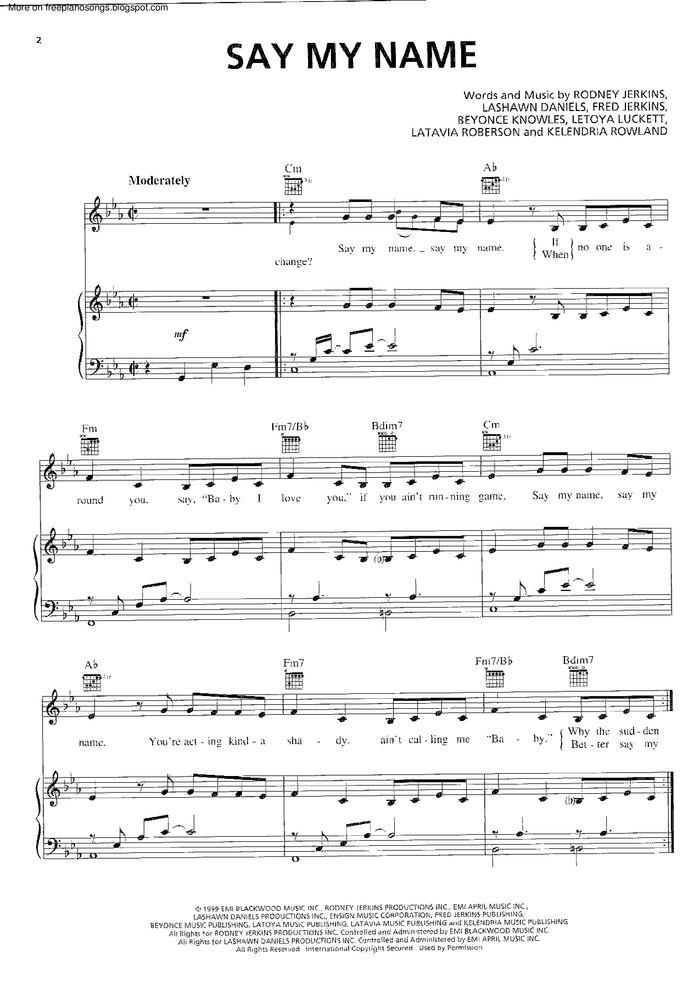 Say My Name free sheet music by Destiny's Child | Pianoshelf