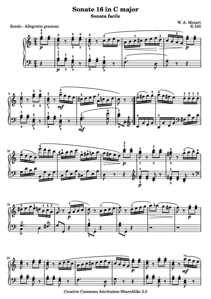 Sonata Facile - Third movement free sheet music by W  A  Mozart