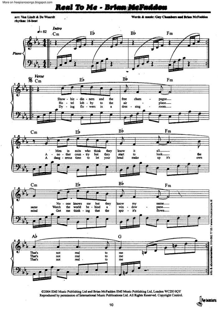 Real To Me Free Sheet Music By Brian Mcfadden Pianoshelf