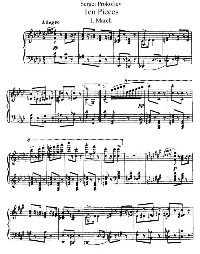 10 Pieces for Piano, Op.12 free sheet music by Prokofiev, Sergey ...