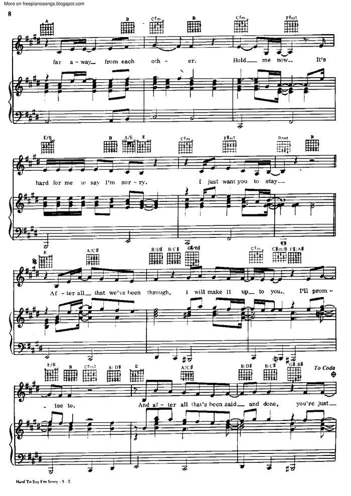 Hard To Say I\'m Sorry free sheet music by Chicago | Pianoshelf