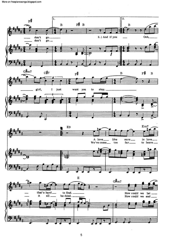 If You Leave Me Now Free Sheet Music By Chicago Pianoshelf