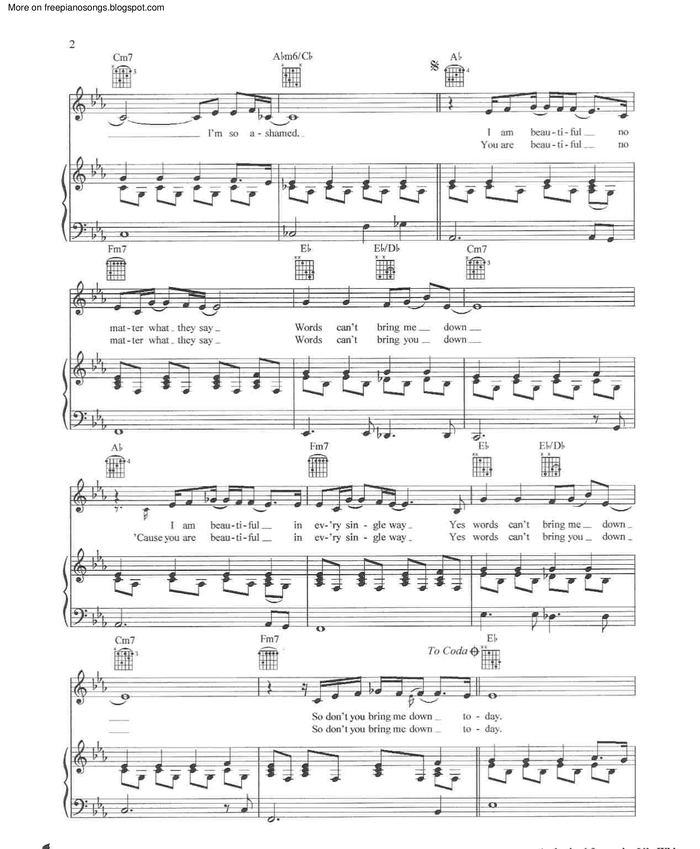 beautiful christina aguilera piano sheet music free easy