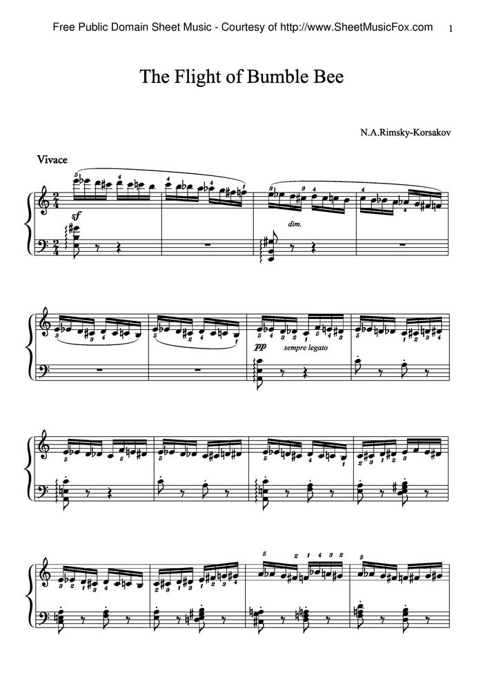 flight of the bumblebee free sheet music