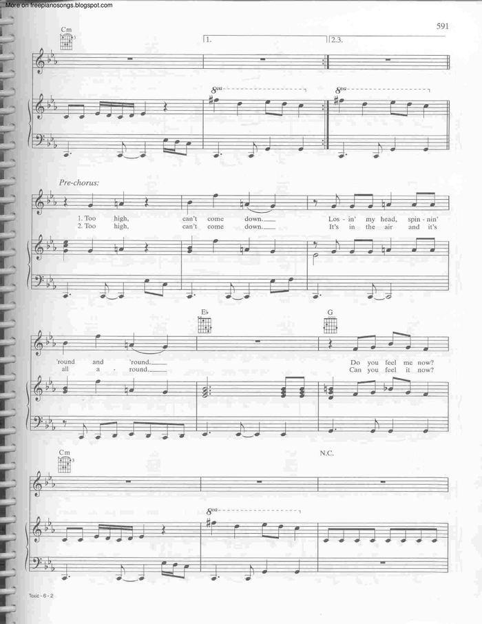 Toxic Free Sheet Music By Britney Spears Pianoshelf