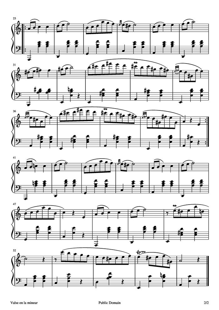 Waltz 19 In A Minor Opposth B 150 Free Sheet Music By