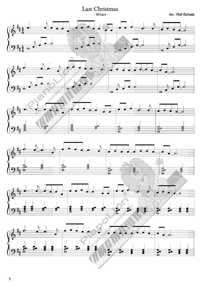 Last Christmas free sheet music by Last Christmas   Pianoshelf