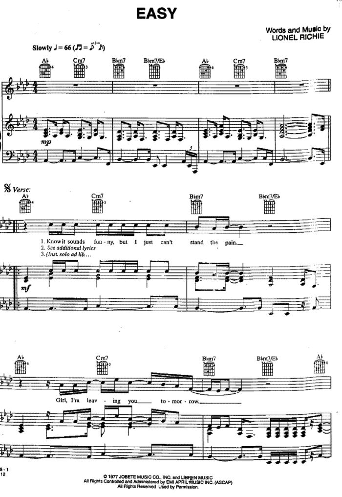 Piano easy piano sheet : Easy free sheet music by The Commodorers/Lionel Richie | Pianoshelf