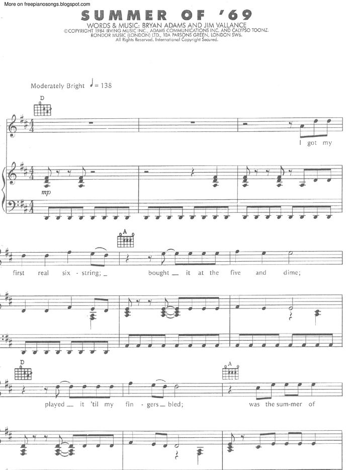 Summer Of 69 Free Sheet Music By Bryan Adams Pianoshelf