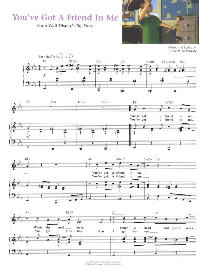 Youve Got A Friend In Me Free Sheet Music By Randy Newman Pianoshelf