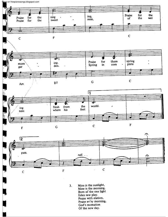 All Music Chords one sweet day sheet music : Morning Has Broken free sheet music by Cat Stevens | Pianoshelf