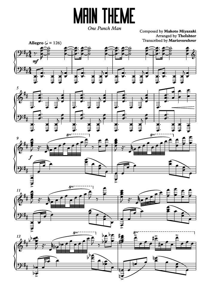 All Music Chords anime sheet music : Main Theme - One Punch Man free sheet music by TheIshter | Pianoshelf