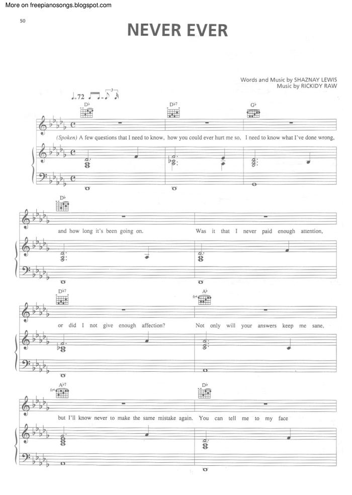 All Music Chords only you sheet music free : Never Ever free sheet music by All Saints | Pianoshelf