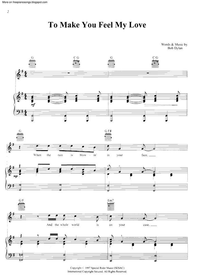 To Make You Feel My Love Free Sheet Music By Bob Dylan Pianoshelf