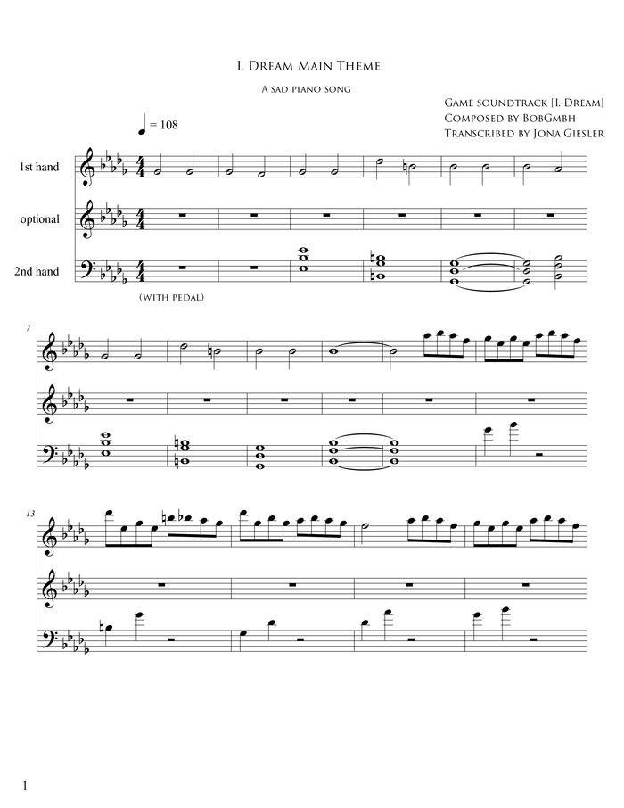 I Dream Main Theme Free Sheet Music By Bob Gmbh Pianoshelf