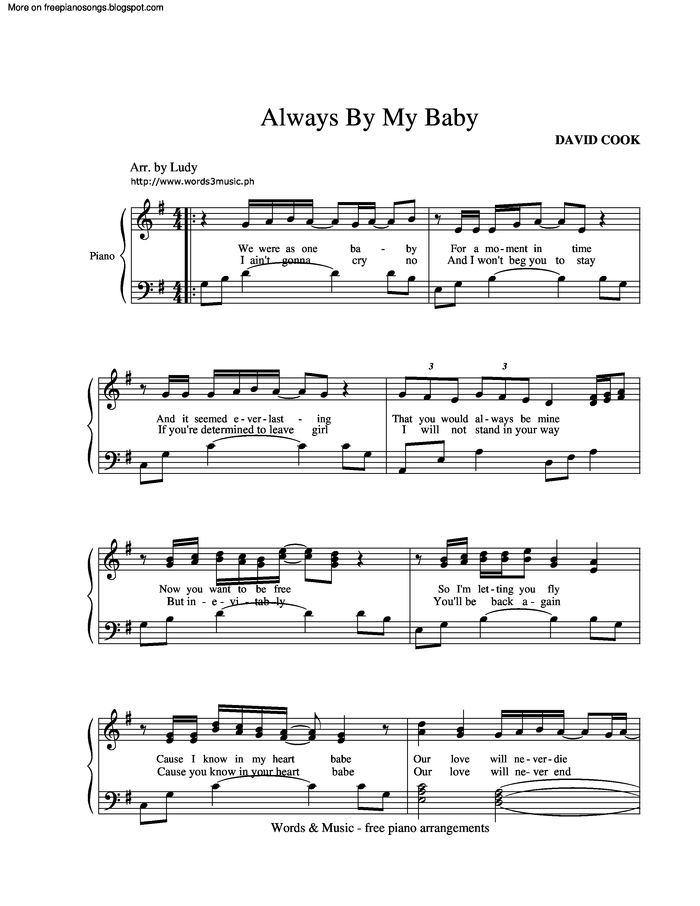 Always Be My Baby Free Sheet Music By David Cook Pianoshelf