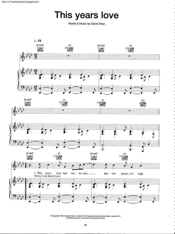 This Years Love free sheet music by David Gray | Pianoshelf