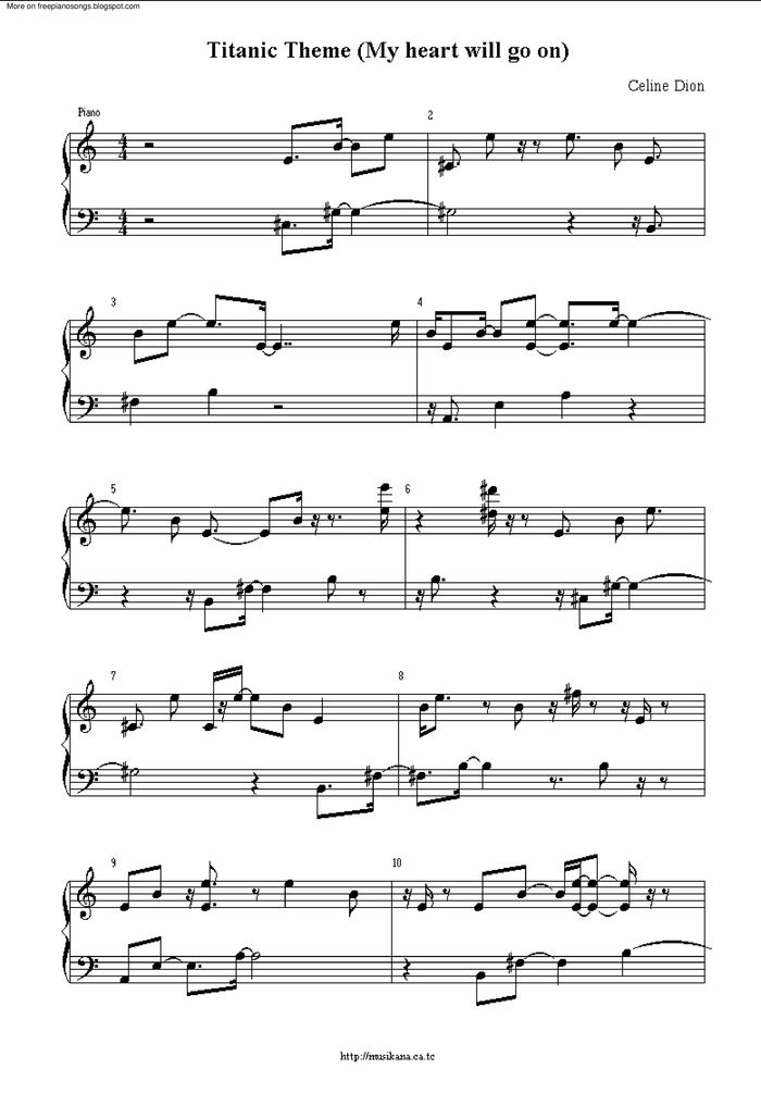 All Music Chords my heart will go on sheet music : My Heart Will Go On 3 free sheet music by Celine Dion | Pianoshelf