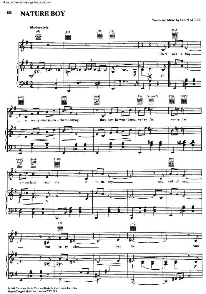 Nature Boy Free Sheet Music By Celine Dion Pianoshelf