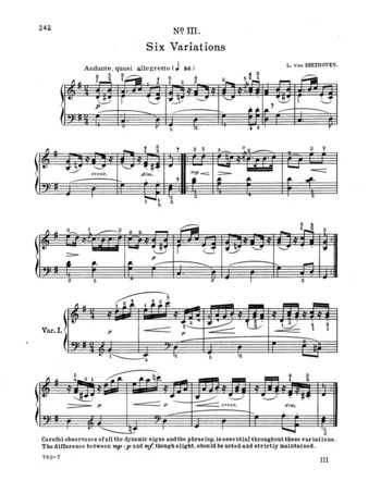 WoO 77: 6 easy variations on an original theme free sheet