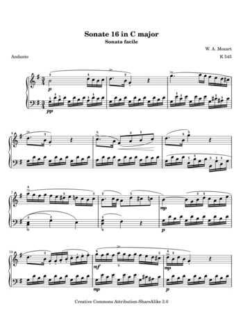 Piano Sonata No 16 Movement 2, k545 free sheet music by