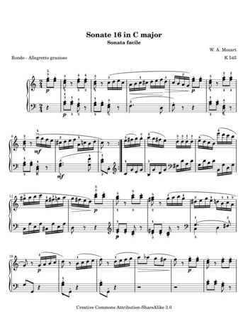 Piano Sonata No 1 free sheet music by Mozart | Pianoshelf