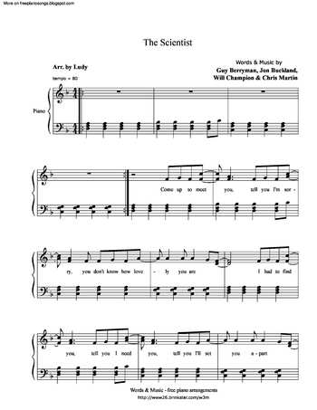 The Scientist Free Sheet Music By Coldplay Pianoshelf